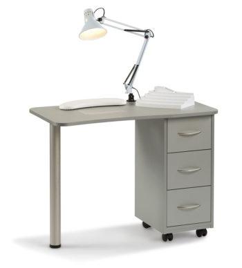 Table de manucure économique avec 3 tiroirs en laminé gris ou blanc une lampe, un repose main et un socle à vernis inclus