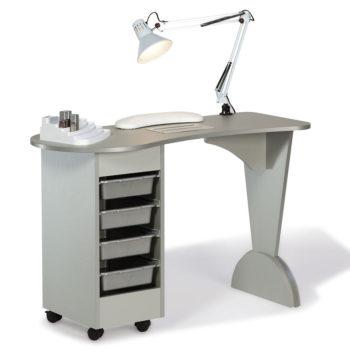 Table de manucure en laminé gris sylver avec meuble à roulettes 4 tiroirs, repose main en mousse