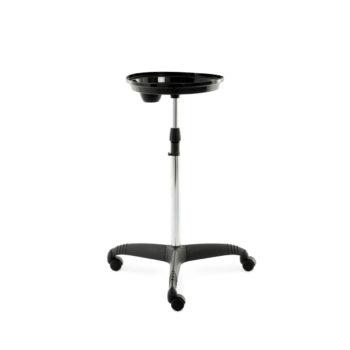 Tablette sur roulettes en plastique noir brillant, sur pied réglable en hauteur