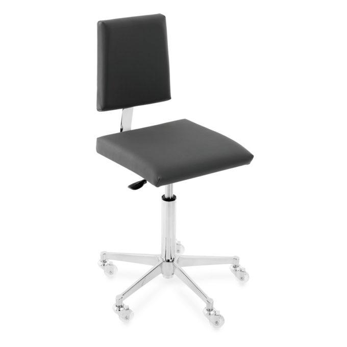 Chaise de coupe pour salon de coiffure avec assise en skai noir et pied en métal étoile à roulettes