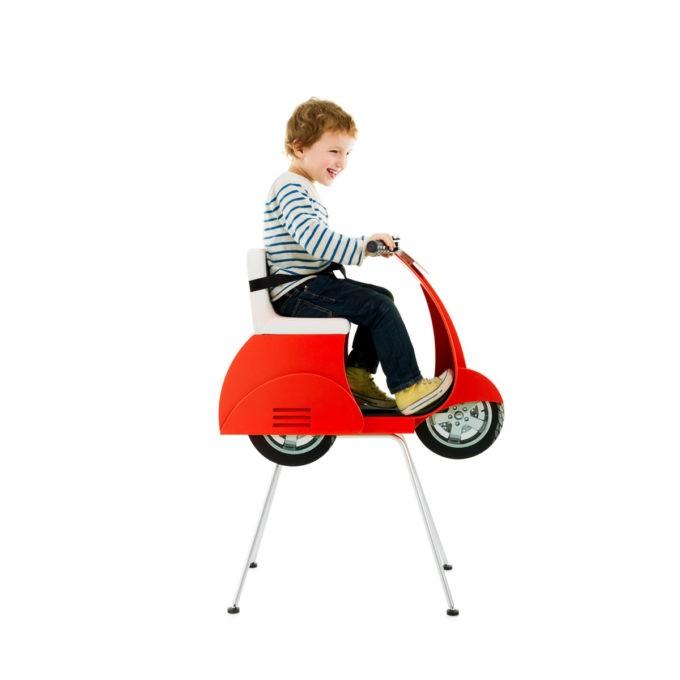 fauteuil coiffure pour enfant en forme de scooter vespa rouge