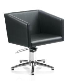 fauteuil de coiffure noir forme carré et pied étoile