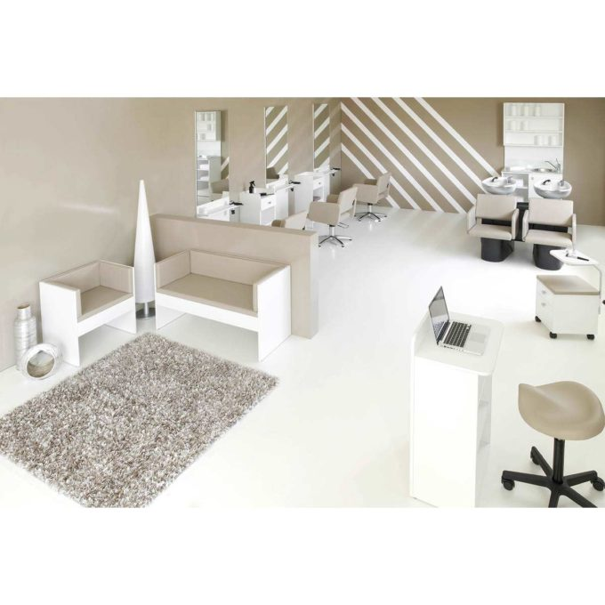 Ambiance salon de coiffure complet couleur taupe et blanc