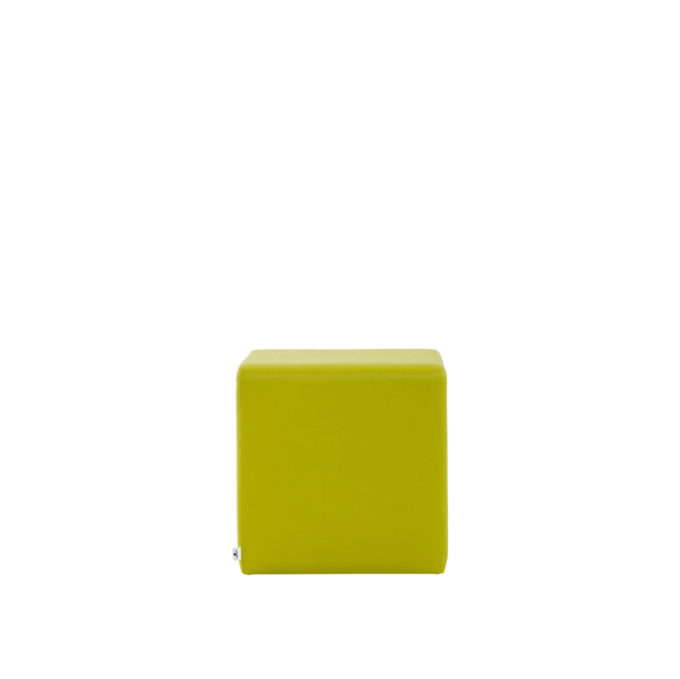 pouf d'attente en forme de cube vert anis