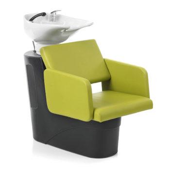 Bac à shampoing avec siège confortable et rembourré, robinetterie inclues, noir
