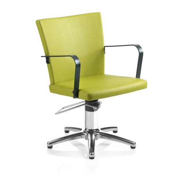fauteuil de coiffage vert anis avec accoudoirs en métal noir et pied étoile en métal brillant