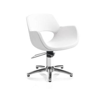 Fauteuil de coiffage blanc assise monobloc avec pied étoile en métal brillant