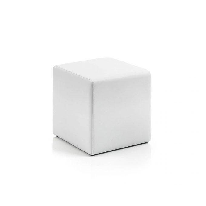 Tabouret carré en mousse et PVC blanc d'attente pour espace coiffure