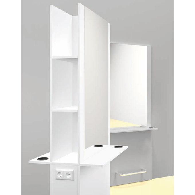 double poste de coiffure blanc avec grands miroirs et reposes pieds