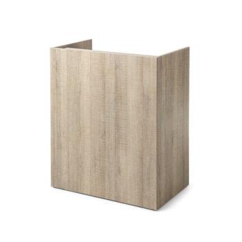 Meuble de caisse pour salon de coiffure, bois stratifé effet naturel et bois clair, avec étagères et tiroir