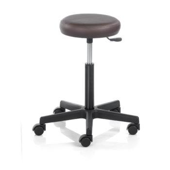 Siège à roulette pour salon de coiffure ou esthétique, assise ronde, rembourrée et revêtue de skai noir ou autres couleurs