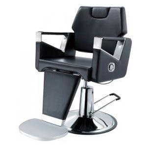 Chaise de barbier avec repose pies et bas en métal chromé, forme contemporaine en similicuir noir