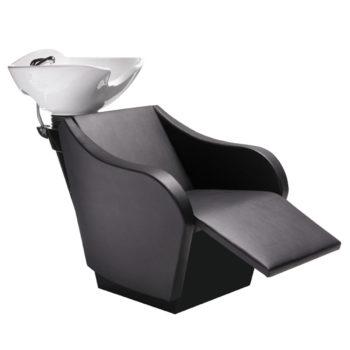 bac de lavage coiffure massant noir avec repose pieds électrique