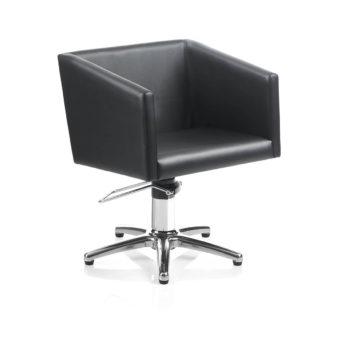 fauteuil de coiffage noir avec pied en métal brillant étoile, assise large et profonde