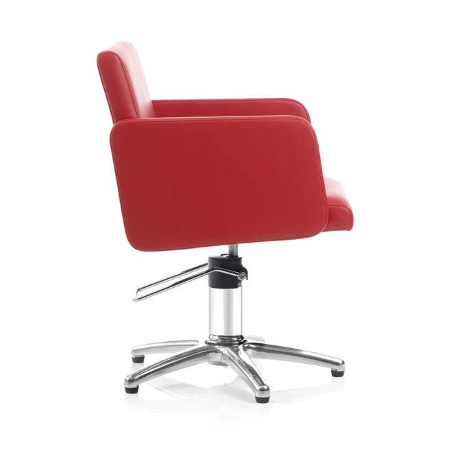 chaise de coiffeur rouge carmin avec pied en métal brillant