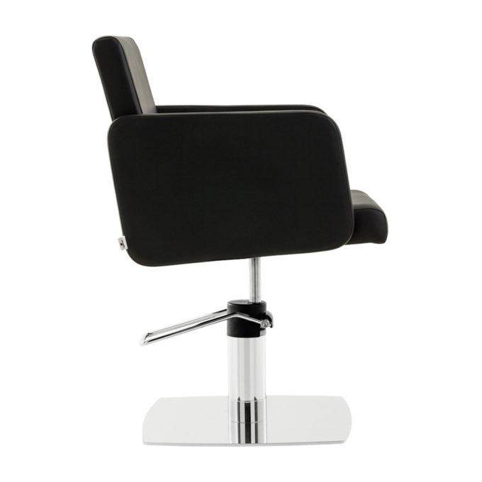 fauteuil de coiffure noir profond avec pied carré