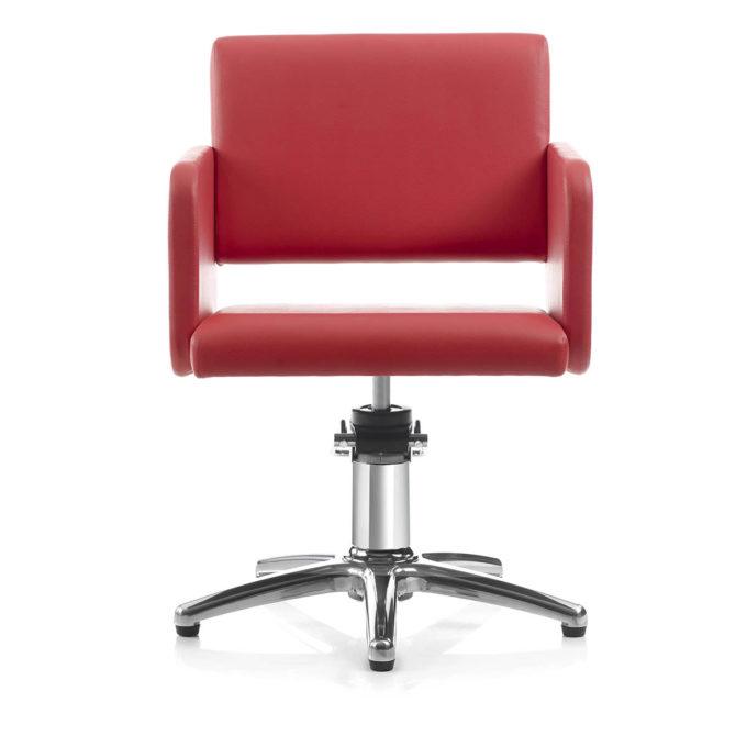 chaise de coiffage rouge vif avec pied en métal brillant