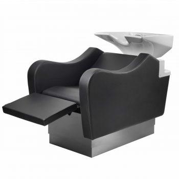Bac à shampoing surélevable avec repose jambes et tapisserie en skai noir