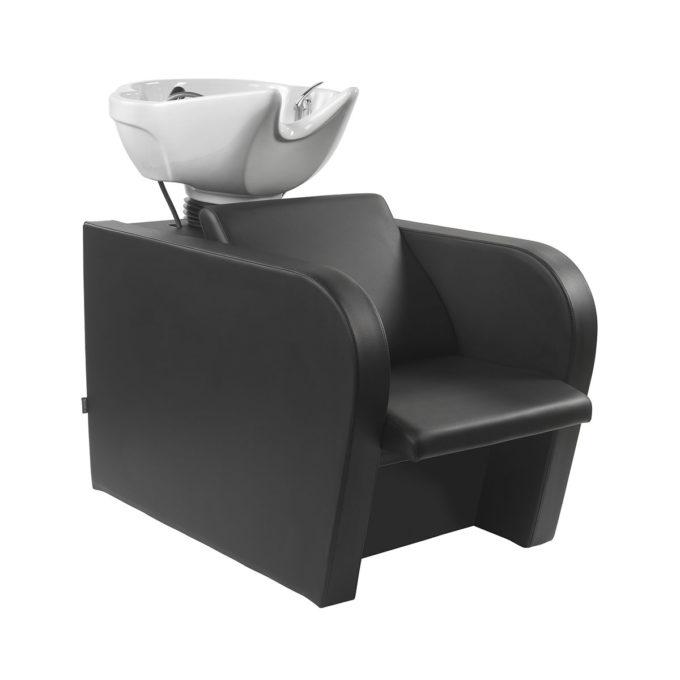 Bac de lavage noir peu encombrant avec vasque blanche équipée en céramique