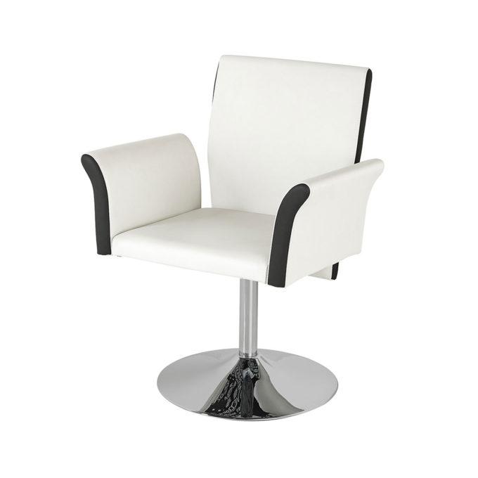 Siège de coiffure contemporain avec grand dossier et accoudoirs, noir et blanc, pied rond en métal brillant