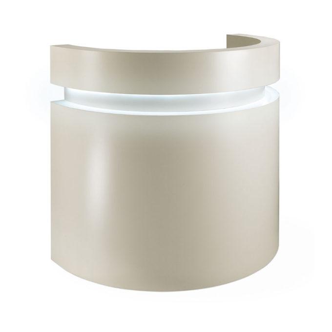 Meuble de caisse forme ronde avec éclairage led et rangements