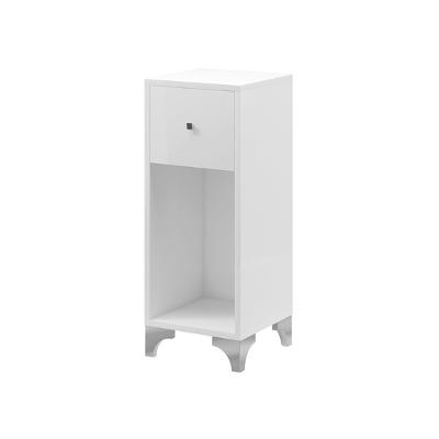 Meuble de rangement avec un tiroir, pieds en métal et structure en bois laminé blanc