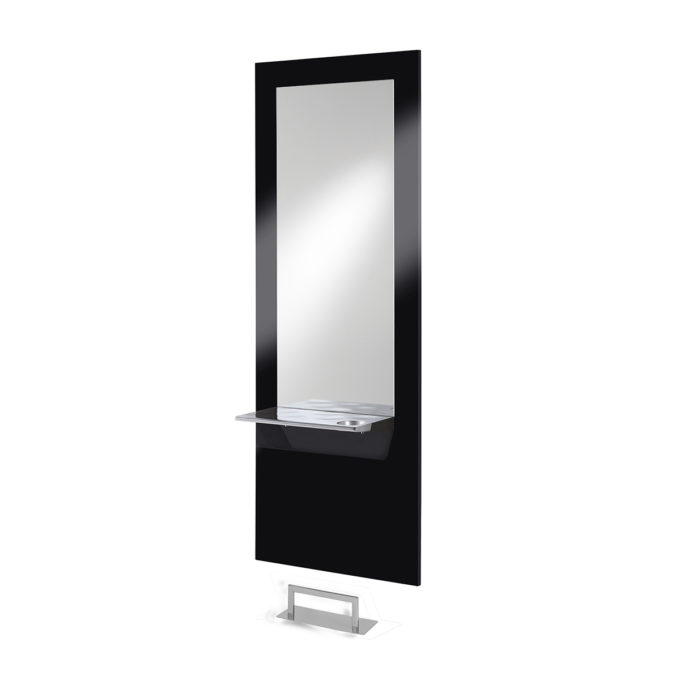 Poste de coiffure noir laqué avec miroir argent et tablette en inox avec porte séchoir, repose pieds en acier
