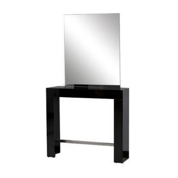 Coiffeuse un place noir laqué, avec grand miroir argenté rectangle, et un repose pieds en métal brillant