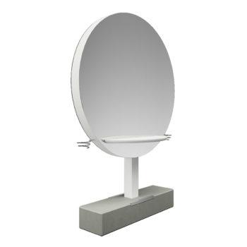 Coiffeuse sur pied en béton avec grand miroir rond et tablettes, porte sèche cheveux sur les côtés