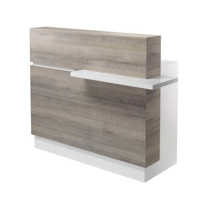 Meuble caisse en bois stratifié avec une tablette sur la partie frontale, bois stratifié blanc et effet bois naturel
