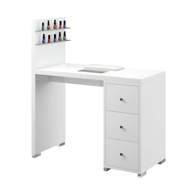 Table de manucure blanche avec étagère pour vernis lumineuse, aspirateur à poussière et rangements