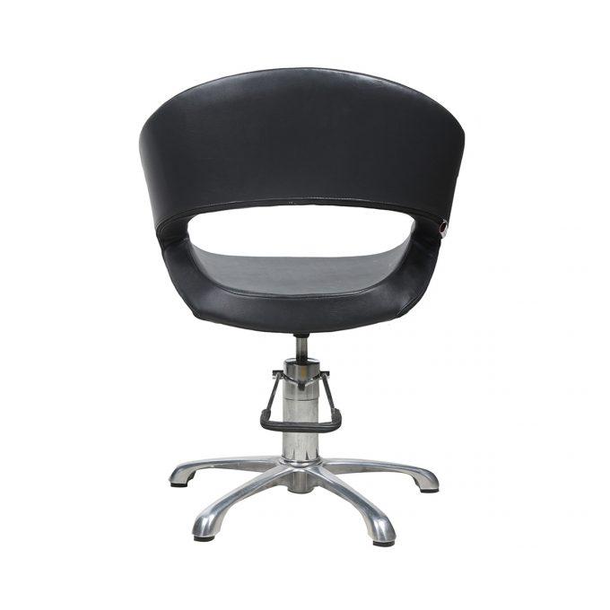 fauteuil de coiffure noir avec pied étoile en métal brillant et pompe hydraulique