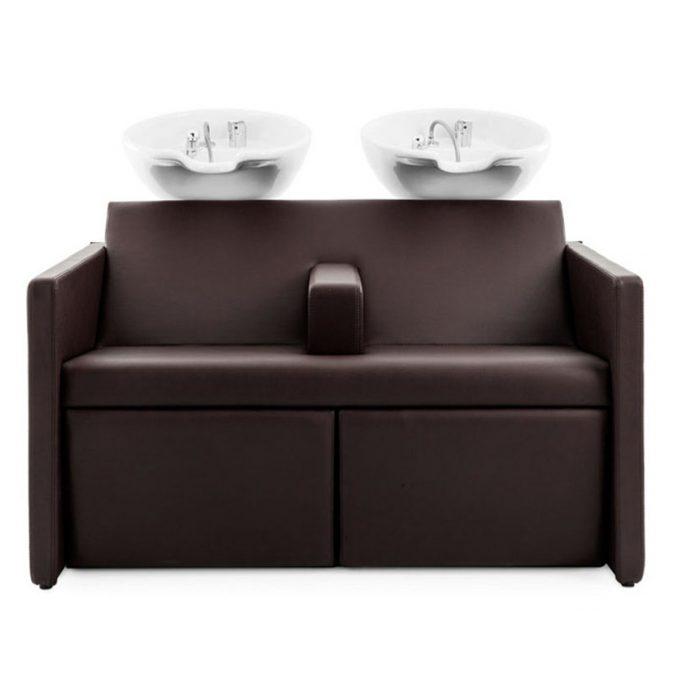 double bac de lavage marron chocolat avec reposes jambes électriques