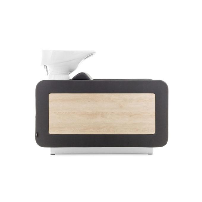 Bac à shampoing avec accoudoirs en bois stratifié effet bois et rembourrage en mousse haute densité avec revêtement en similicuir marron chocolat