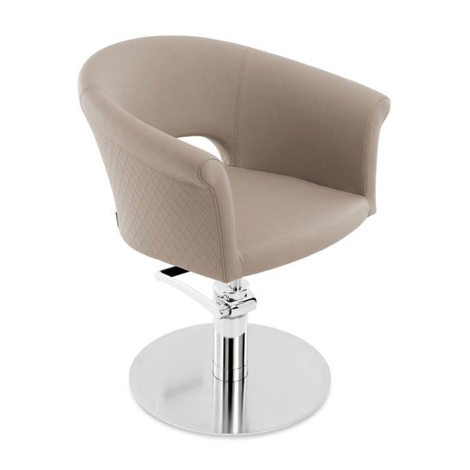 fauteuil de coiffure avec finition textile quadrillée couleur beige, taupe, pied rond en métal chromé