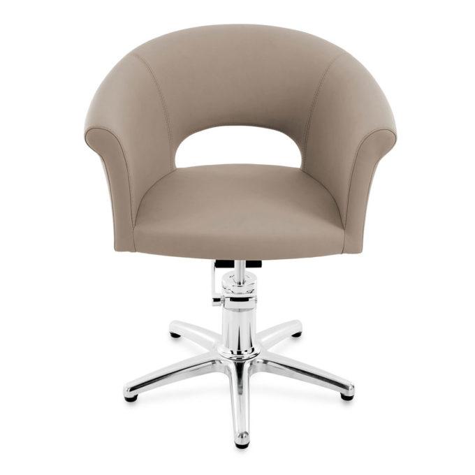 fauteuil de coiffeur formes rondes avec pied étoile et pompe hydraulique