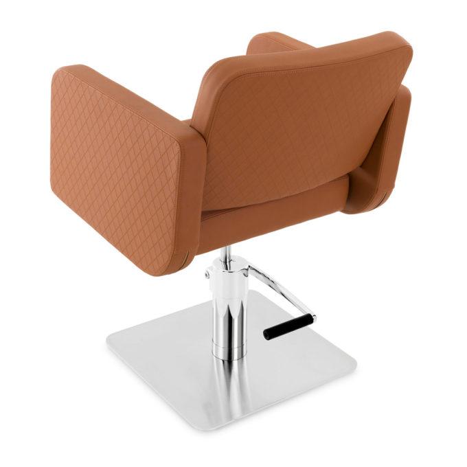 chaise de coiffure caramel forme rectangle avec pied carré en métal