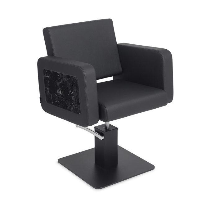 Chaise de coiffure noir avec finitions en marbre sur les accoudoirs, pied en métal noir carré