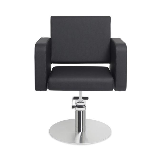 fauteuil de coiffure noir avec accoudoir en marbre et pied en métal chromé rond