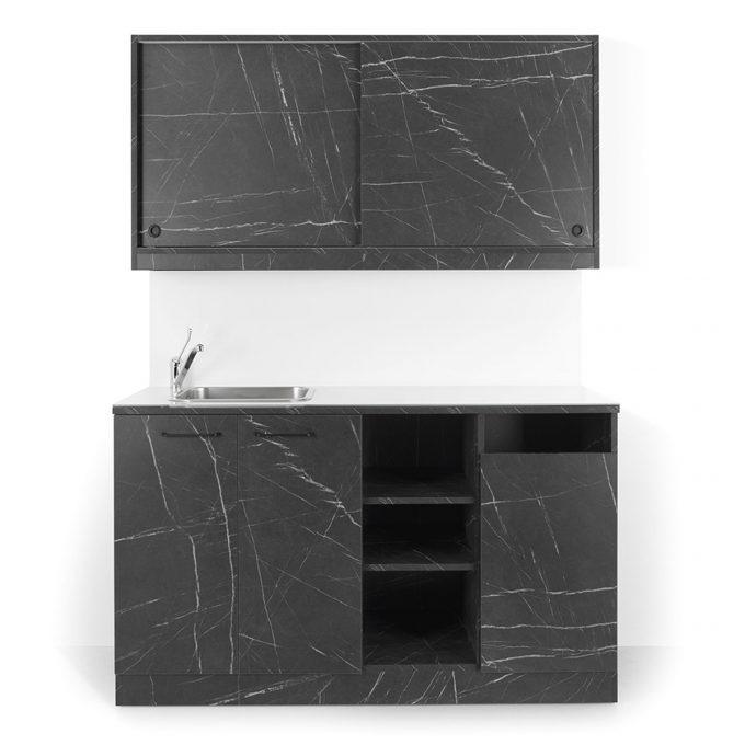 laboratoire effet marbre mate avec evier carré inox portes coulissantes