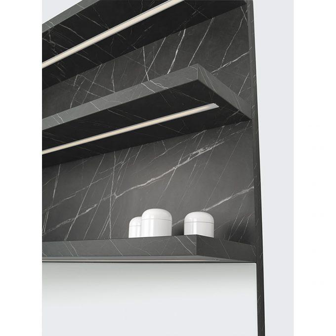 laboratoire effet marbre mate avec evier carré inox étagère illuminée