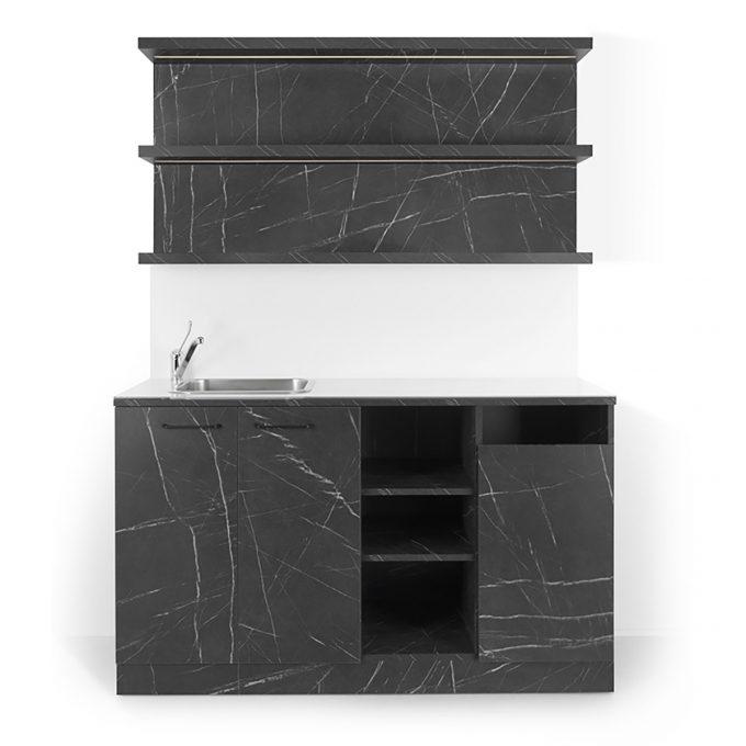laboratoire effet marbre mate avec evier carré inox 3 étagères