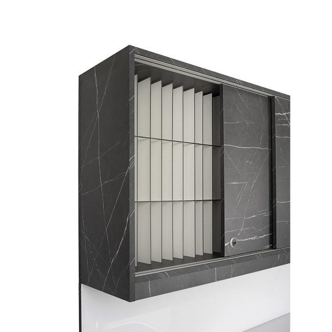 laboratoire effet marbre mate avec evier carré inox porte et kit coloration