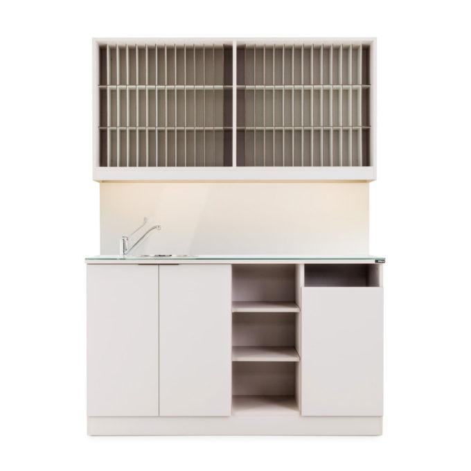 meuble laboratoire 150 cm avec kits colorations étagère et évier en inox
