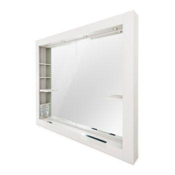 poste de coiffure 2 places, grand miroir avec encadrement en bois stratifié blanc, étagère, repose-pieds intégrés
