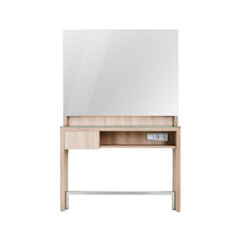 Meuble de coiffure avec miroir carré, éclairage LED, doubles prises, meuble en stratifié effet bois naturel avec plan en verre et tiroir