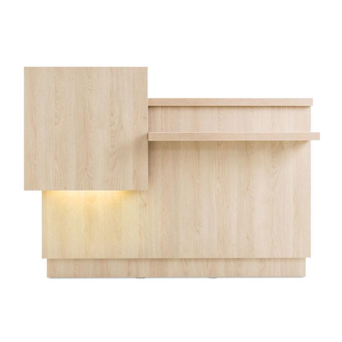 Meuble accueil caisse et réception en bois stratifie, éclairage en option