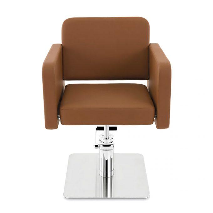 fauteuil de coiffure assise large en skai marron caramel et pied en acier carré
