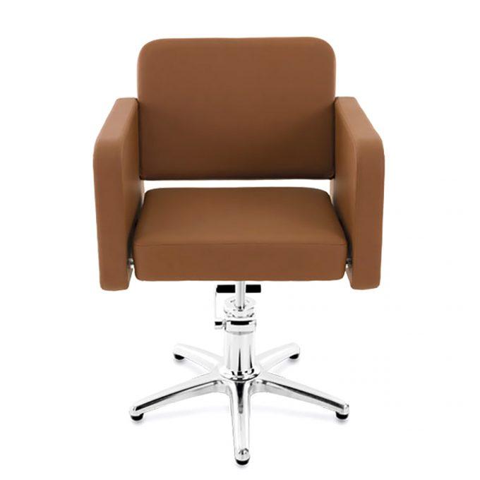 fauteuil de coiffure assise large en skai marron caramel et pied en acier etoile