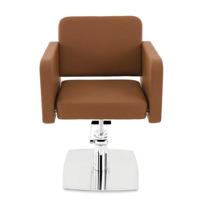 fauteuil de coiffure assise large en skai marron caramel et pied en acier brus